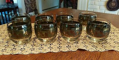 Vintage Mid Century Cera Golden Grapes Pattern Roly Poly Glassware Set of 8