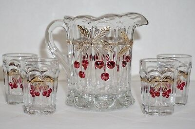 Vintage Miniature Mosser Glass Pitcher 4 Glasses Cups Child Tea Party Cherries