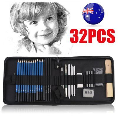 32pcs Drawing Sketch Set Charcoal Pencil Eraser Art Craft Painting Sketching