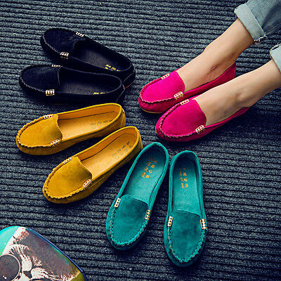 Women Moccasin Suede Slip On Flat Loafers Lady Casual Ballerina Ballet Shoes US