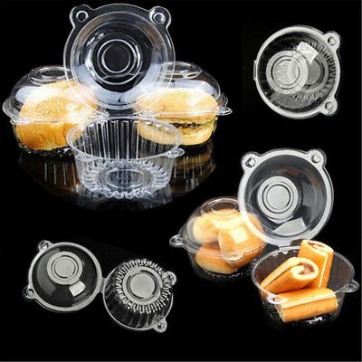 5~30X Plastic Cupcake Muffin Single Cup Cake Holders Boxes Pods Domes Cases M/L