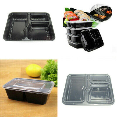 2/5pcs Meal Prep Food Containers Compartment Lunch Box Microwavable With Lids