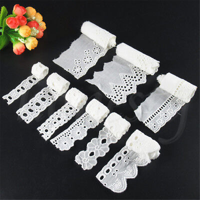 2 Yard Cotton Crochet White Lace Trim Wedding Ribbon Embroidered Sewing Craft