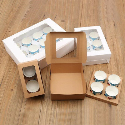 1PC 2/4/6 Holes Cupcake Muffin Cake Box With Clear Window Insert Tray Holders