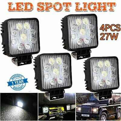 4X 27W Square LED Work Light Flood Lamp Offroad Truck Tractor Boat Bar 12V 24V A