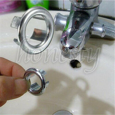 2~50X Bathroom Basin Sink Spare Round Overflow Cover Trim Chrome Replacement