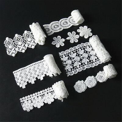 1 Yd Embroidered Venise Lace Edge Trim Ribbon Wedding Applique DIY Sewing Craft