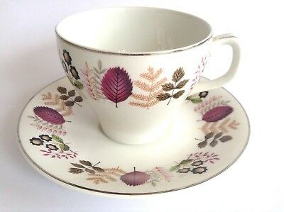 Retro Vintage WOODS WARE  Staffordshire Alpine Tea Cup & Saucer Duo Wood & Sons