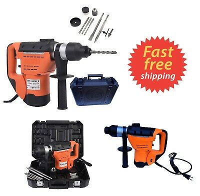 """New 1-1/2"""" Electric Rotary ROTO Hammer Drill SDS Concrete Chisel Kit w Bits Tool"""