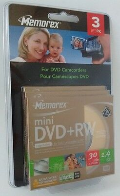 Memorex 8cm mini DVD+RW Scratch Resistance 1.4GB 3PK Rewritable Blank Discs