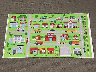 Road Playmat Fabric Panel Town City Car Truck Police Bus Street Boys Quilting