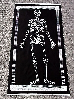 Skeleton fabric panel glow in the dark quilt panel skull boys quilting halloween