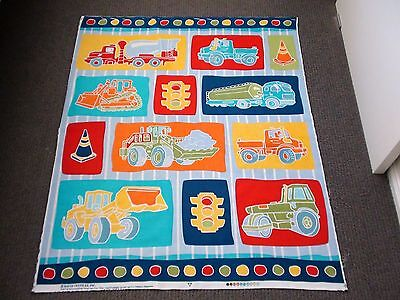 Construction Vehicles Truck Digger Machinery Fabric Panel Boys Cotton Quilting