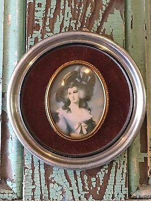 Vintage French Woman Lady Portrait Framed Picture Print Convex Glass