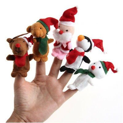 1/5Pcs Christmas Animal Finger Puppets Set Educational Hand Cloth Dolls Baby Toy