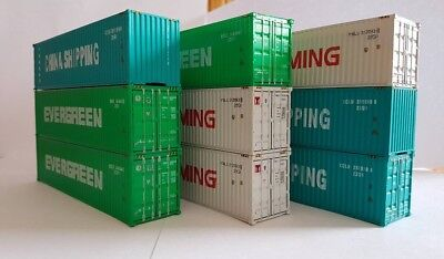 Nine 40 foot shipping containers HO 1:87 NEW suits Austrains, Auscision, Roco