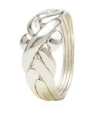 Hand made Turkish puzzle ring 925 silver 4 band tradational design size H to Z+5