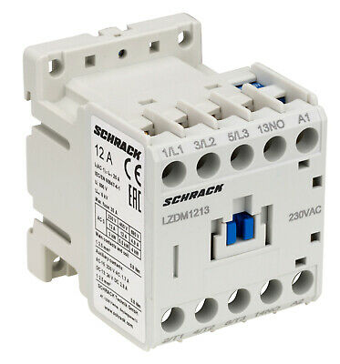 Contactor AC3 SCHRACK Cubico Mini  up to 5.5KW/12A/400V, 24VAC, 24VDC, 230VAC