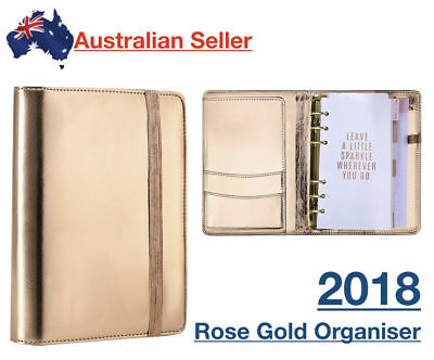 2018 Rose Gold Organiser Planner Compendium Leather Diary Appointment Journal wk