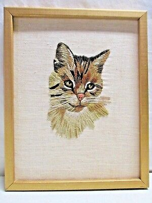 Vintage Crewel Wall Hanging Kitty Cat Framed Picture Yarn Art Embroidered 15x12