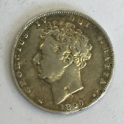 Antique Georgian George IIII IV 4th 1826 Silver Sixpence Coin