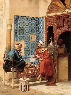 Playing Chess At Old Arab Coffee - Arabian Art - Handmade Oil Painting On Canvas