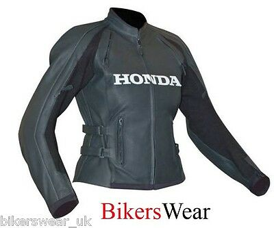 HONDA Pacifica Black Ladies Women Leather Motorcycle Jacket RRP:£250