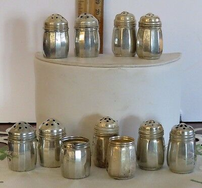 Lot of 9 Antique Edwardian Sterling Silver Individual Salt Cellars Small Marked
