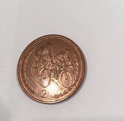 MANX Cycling Race ISLE OF MAN 2p TWO PENCE COIN 1996 CIRC'D