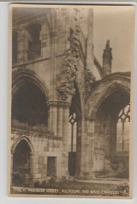 Melrose Abbey, Pulpitum and Nave Chapels, United Kingdom, 1920s ? RPPC Postcard