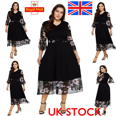 UK Womens Flare Sleeve Chiffon Maxi Dress Floral Plus Size Dresses Party Outdoor