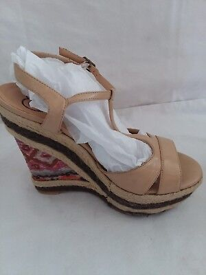 ed8b773dbb PENNY LOVES KENNY SIZE 7 TAN /multicolor PEEP TOE PLATFORM Rope WEDGE SHOES