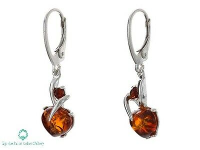 NATURAL BALTIC AMBER STERLING SILVER  925 Earrings Droop Dangle Certified +BOX