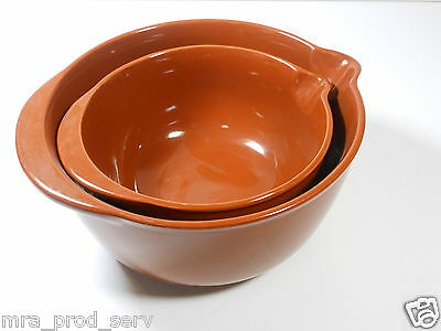 SET of Two (2) Vintage MIX & POUR BOWLS Golden BROWN HEAVY POTTERY Made in Japan