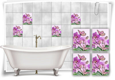 Fliesenaufkleber Fliesenbild Blumen Orchidee SPA Wellness Schmetterling Deko Bad