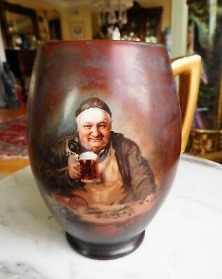 Antique Vintage Monk Mug Hand Painted Signed on Bottom with Intials EWM