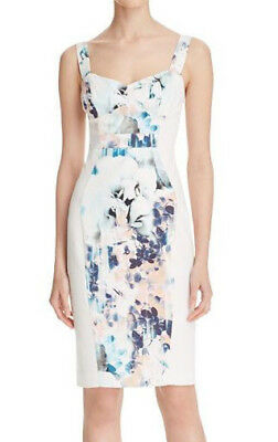 602139ab2f19 BLACK HALO 'Sadie' ~ White Abstract Floral Panel Sheath Party Dress 12 ...