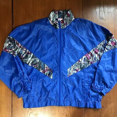 Vintage Lady Foot Locker Light Nylon Windbreaker Blue 80s 90s Womens Medium VGUC