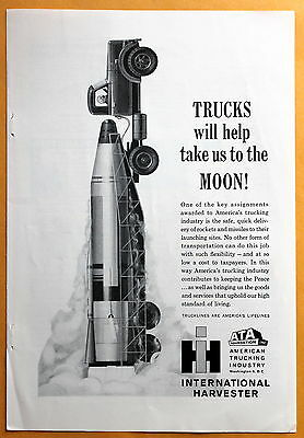 Vintage Magazine Print 1961 Ad for International Harvester Trucks to the Moon