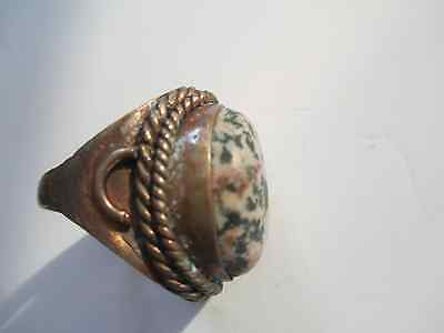 Antique Ring - Large Stone ( Marble ? )  Nautical Look / estate jewelry