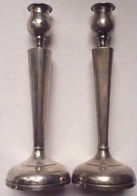 "8"" Sterling Silver Arts and Crafts Era Candlesticks SIMPLE FORM elegant VINTAGE"
