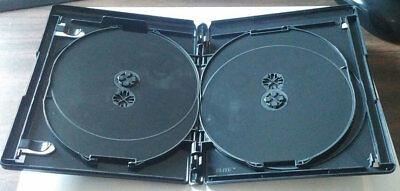 NEW! Black 2 PK 15mm VIVA ELITE Blu-Ray Replace Case Hold 4 Discs (4 Tray)