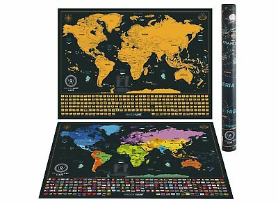 NEW Scratch off World Map + Poster Hanging Kit - (Black | 62 x 44 cm) US States