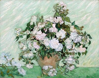 Still Life Vase with Pink Roses Painting by Vincent van Gogh Art Reproduction
