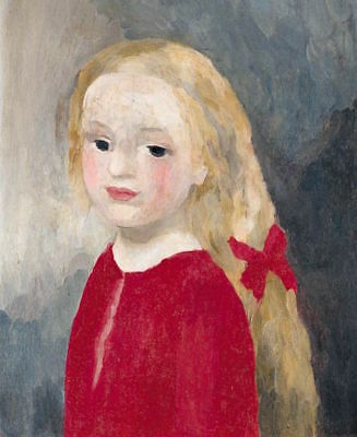 Postcard: Vintage repro - Little Girl w/ Long Hair in Red Dress, Red Bow