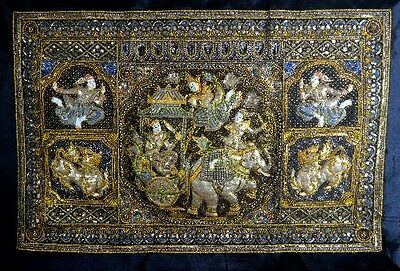 KalagaBurmese Tapestry Large Fine Quality Silk Border with Loops Prince & Sacre