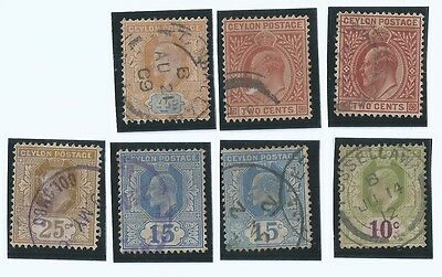 Lot of 7 pcs. 1903 Ceylon Edward VII Stamps Fine Used Good Value ( S-94)