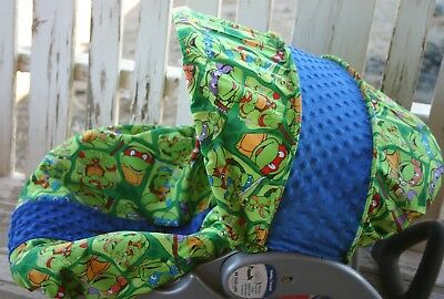 Infant Car Seat Cover And Hood Ninja Turtles With Royal Blue Minky