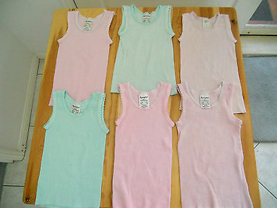 Bundle 6 size 1 - 18 months singlets baby toddler girls girl pink green  Cotton