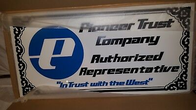 """Pioneer Trust Company Advertising Store Sign Nos Plastic 32"""" X 16"""""""